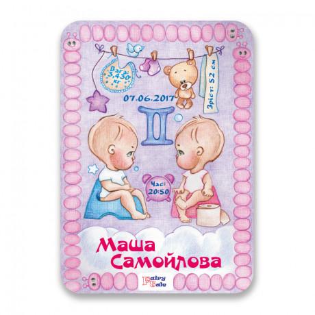 Метрика-постер для новорожденных Близнецы (пластик)