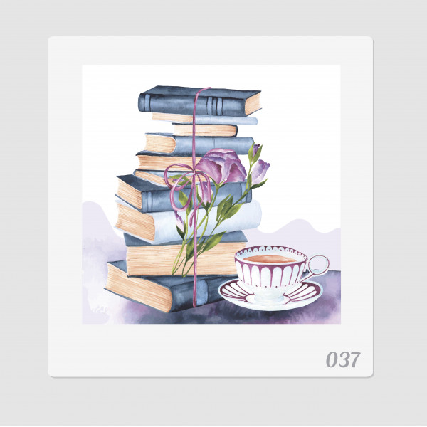 """Иллюстрация """"Книги и чашка чая"""""""